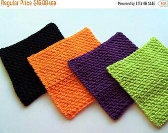 Christmas In July Sale Dishcloths Set - Spa Washcloths - Halloween Brights - Set of 4 in Orange, Black, Purple, and Lime