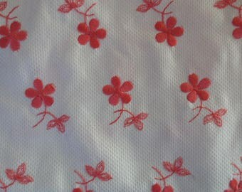 """Vintage Waffle Cloth With Embroidered Flowers, White with Pink Flowers // Deadstock Yardage, Old, New Fabric...2 yards X 44"""" wide"""
