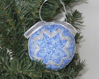 Blue and Silver Quilted Christmas Ornament - Handmade Fabric Ornament - Handmade Ornament  - Christmas Decoration
