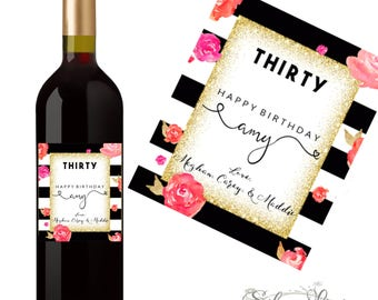 30th Birthday Wine Label - 30th Birthday Gift - Dirty Thirty Gift - Cheeky 30th Birthday Gift- Personalized Dirty 30 Birthday Party Gift