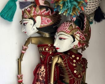 Indonesian Theatre Puppets Dolls Lot of 2 Male and Female