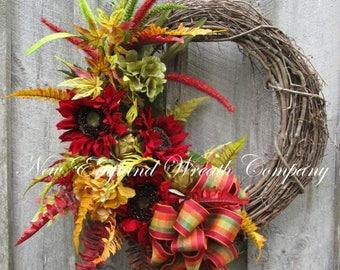 ON SALE Sunflower Wreath, Thanksgiving Wreath, Elegant Fall Wreath, Fall Designer Wreath, Fall Floral Wreath