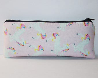 "Pipe Pouch, Pink Unicorn Bag, Pipe Case, Glass Pipe Bag, Vape Pen Bag, Magical Gift, Weed, Cannabis, Cute Pouch, Zipper Pouch - 7.5"" LARGE"