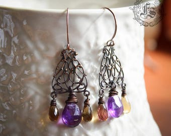Rustic Art Nouveau Chandelier Earrings with Amethyst and Beer Quartz.  Mucha's Autumn.