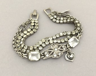 One of a Kind Jewelry Bracelet - Unique Jewelry Bracelet - Rhinestone Bracelet - Vintage Assemblage Bracelet - Clear Bridal Bracelet Gift