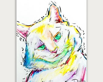 Colorful Art, Custom Cat Paintings, Pet Portrait, Acrylic On canvas, Wall Decor, Home Decor