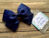 Navy blue hair bow , 4 inch hair bow , navy boutique hair bow , toddler hair bow , hair bows for girls