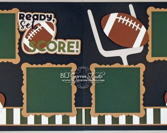 Premade Football Scrapbook Page Layout Paper Piece Die Cuts 12x12 School Sports Handmade 29