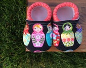 Custom Slippers for Jenn - Matryoshka Doll and Persimmon