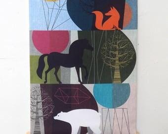 Wilderness, fabric, wall hanging, Ellen Giggenbach