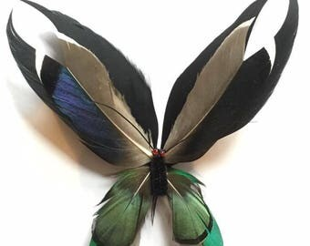 SALE! Real Feather Butterfly Brooch