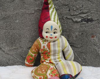 Vintage 50s Handmade Clown Doll Hand Painted Hard Cloth Face Pieced Clown Suit