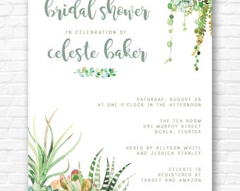 Watercolor Succulent Invitation