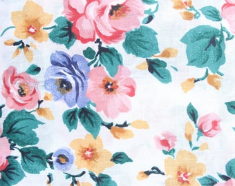 90's Pink Rose Floral Fabric Material . Periwinkle Marigold Flowers . Skirt or Dress Fabric . Pretty Sweet 1990s