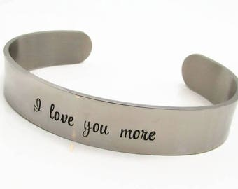 Personalized Bracelet - Personalized Cuff Bracelet - Hand Stamped Jewelry - Personalized Jewelry - Personalized I love you more gift (300)