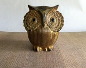 Vintage Ceramic Owl Piggy or Coin Bank - Mid Century Rustic Modern, Baby or Child Gift, Nursery Shelf Decor, OMC