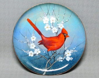 Nekrassoff enamel on copper decorated with cardinal / bird
