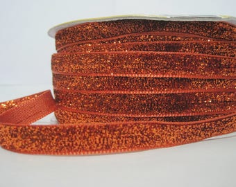 "5 Yards Orange-Red Metallic Glitter Ribbon (3/8""), Glitter yarn, Metallic ribbon, Glitter yarn, Orange Glitter,Orange ribbon,Orange metallic"