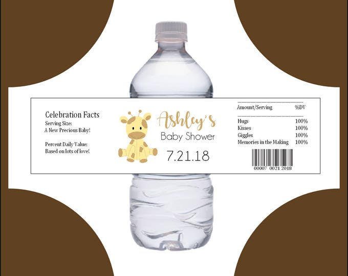 25 GIRAFFE Baby Shower water bottle labels - Price includes personalization and printing.