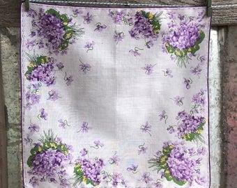 Vintage Purple Violets Floral Hanky 1557