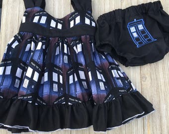 6-9 month Tardis sundress with diaper cover