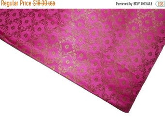 15% off on One yard of Indian silk brocade fabric in pink with gold