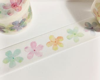 Watercolor Flowers Rainbow Colored Pastel Flowers Painted Floral Washi Tape 5.5 yards 5 meters 20mm