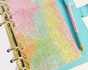 Personal Size Bright Colorful Watercolor Pink Orange Teal Yellow Watercolor Gold Foil Polka Dots Laminated Dashboard Filofax Kikki k Planner