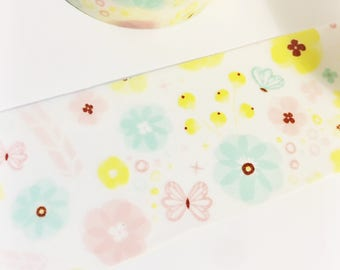 Pastel Floral Yellow Pink Blue Flowers Washi Tape 11 yards 10 meters 30mm