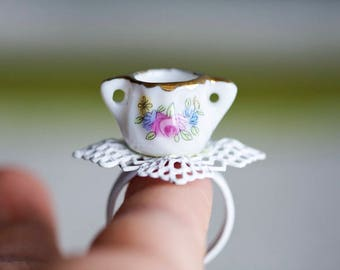 Tea Party Porcelain Ring Floral Porcelain Tea Set Sugar Bowl Miniature Jewelry Gift for Tea Lovers Teatime Jewelry White Lace Ring - R010
