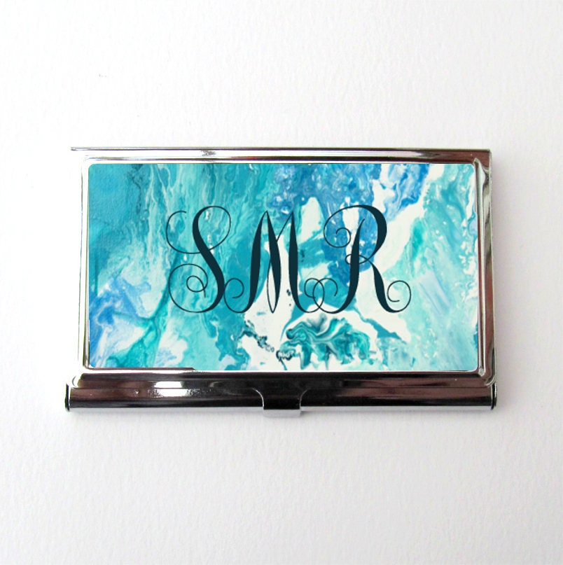 Monogram Business Card Holder, Marble Design Card Case, Personalized ...
