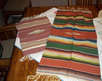 2 Vintage table runner wall hangings wool Native American Indian, Mexican inspired rug mat table topper