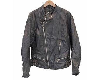 """Vintage Leather Biker jacket Cafe Racer Perfecto - M 38"""" (26298)"""