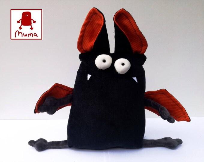 Spooky Halloween Vampire Bat Muma, Little Pocket Bat Stuffie Halloween Toy, Funny Black Vampire Pocket Plush