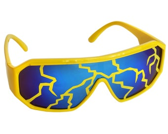 Rasslor Yellow Lightning Blue Shield Sunglasses
