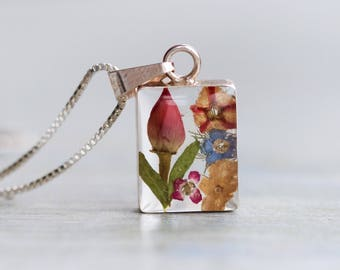Dried Flowers Necklace - Sterling Silver Encased Beauty - Dried Flowers in Resin Case Pendant on a Chain