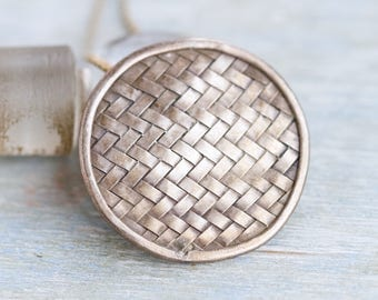 Woven Silver Disc Necklace - Sterling Silver Round Pendant on Chain - Elegant Boho Jewelry - Made in Italy