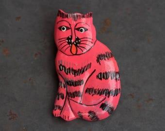 Pink Cat Lapel Pin - Tubby Cat Brooch - Kistch Vintage Jewelry Fuchsia