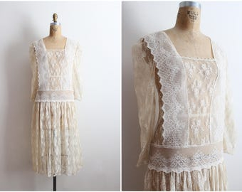 70s Victorian Lace Wedding Dress / Wedding Lace Dress/ Sheer Nude floral Dress / Size XS/S