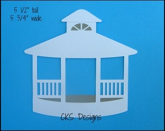Die Cut White Gazebo Premade Paper Piecing Embellishment for Card Making Scrapbook or Paper Crafts