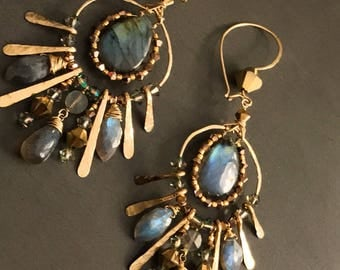 Labradorite and Gold Statement Earrings