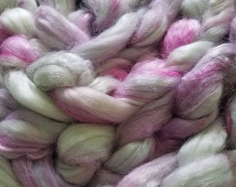 "1oz 100 % tussah silk roving hand dyed for spinning yarn making needle felting fiber arts supplies pink and white ""princessa"" colorway"