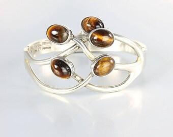 Mexican Sterling Bracelet, Tiger Eye Modernist Organic Hinged Bangle, Eagle mark 3 Vintage jewelry