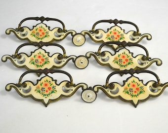 Vintage Enamel Floral Bouquet, Six Cabinet Drawer Handles and Three Pulls