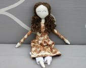 Natural doll,Handmade Cloth doll, Little House on the Prairie doll, Rag doll, Swanky Janes, pioneer doll, Prairie dress