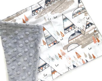 Baby Burp Cloth Mountains - Minky Burp Cloth - Woodland Burp Cloth - Baby Shower Gift - Grey Burp Cloth - Neutral Burp Cloths
