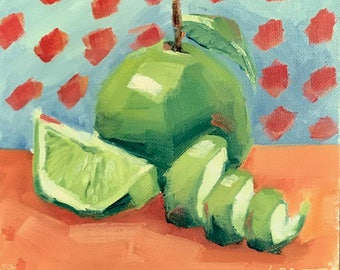 Green Apples, Lime Slice, Oil Painting, Apple Painting, Original Art
