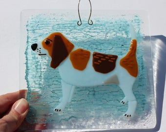 Beagle Dog Stylised Fused Glass Tile Wall Hanging Decoration Sun Catcher Gifts for him or her
