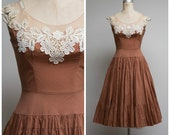 Vintage 1950s Dress • Cafe Connection • Light Brown Cotton and Lace Illusion 50s Dress by Peggy Hunt Size Small