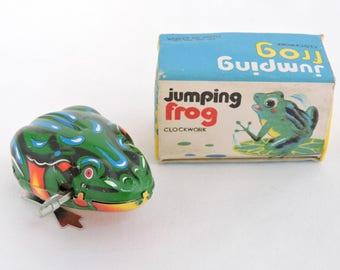 Vintage c.1980u0027s Jumping Frog Tin Wind Up Toy w/ Original Box - Made & Jumping frog | Etsy Aboutintivar.Com